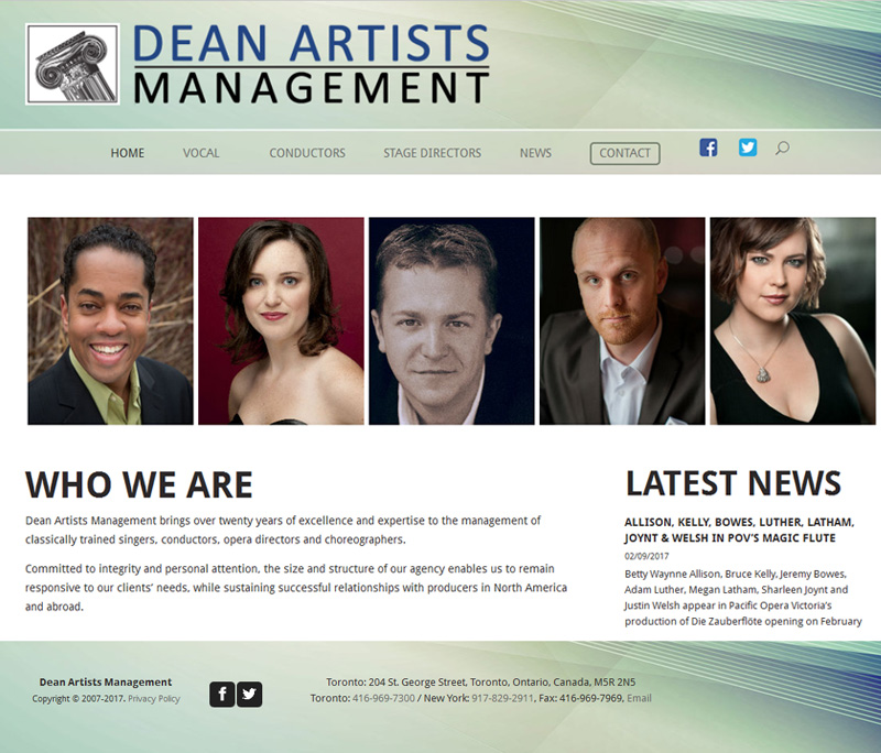 Dean Artists Management Website